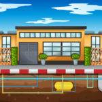 Water Pipe Running Under House Vector