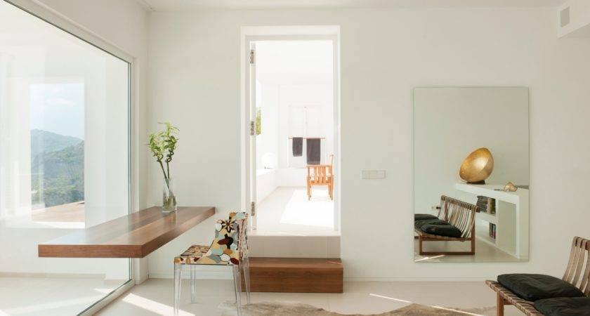 White Home Office Floating Desk Interior Design Ideas