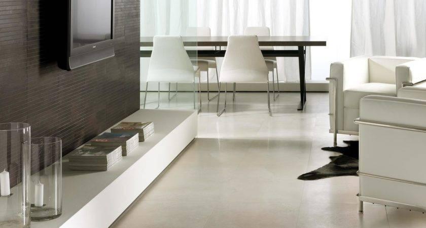 White Living Room Floor Tiles