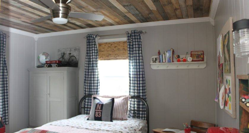 White Washed Ceiling Made Using Pallet Wood Added