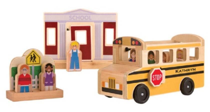 Whittle World Wooden Schoolbus Set Melissa Doug
