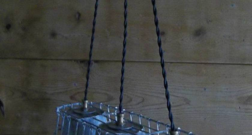 Wire Basket Milk Crate Metal Bucket Primitive Pendant