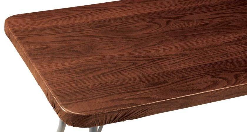 Wood Grain Vinyl Elasticized Banquet Table Cover Jet