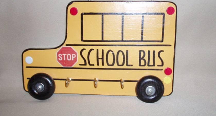 Wood School Bus Keychain Holder