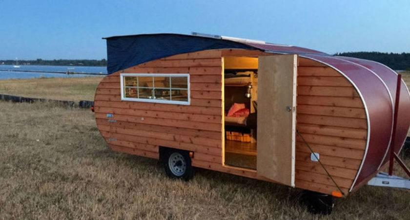 Wood Sided Wheeled Cabin Channels Pop Teardrop Camper