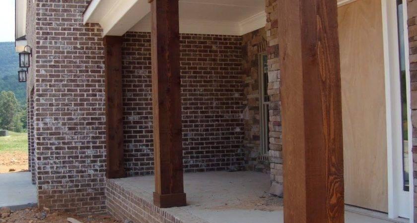 Wooden Porch Posts Columns Rickety Brick House