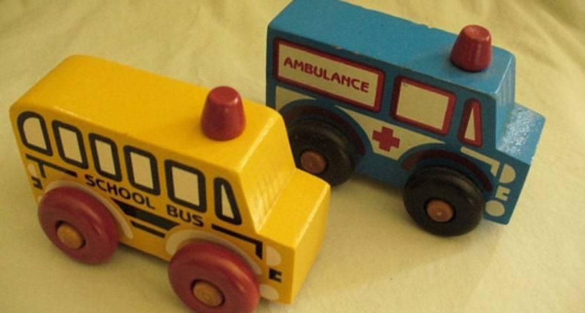 Wooden School Bus Ambulance Toys Montgomery Schoolhouse