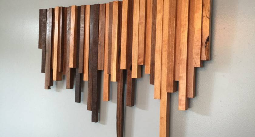 Wooden Wall Art Cherry Walnut Strips Decor Wood
