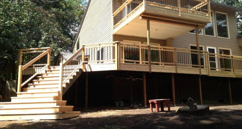 Wrap Around Cedar Deck Picket Rails Stairs
