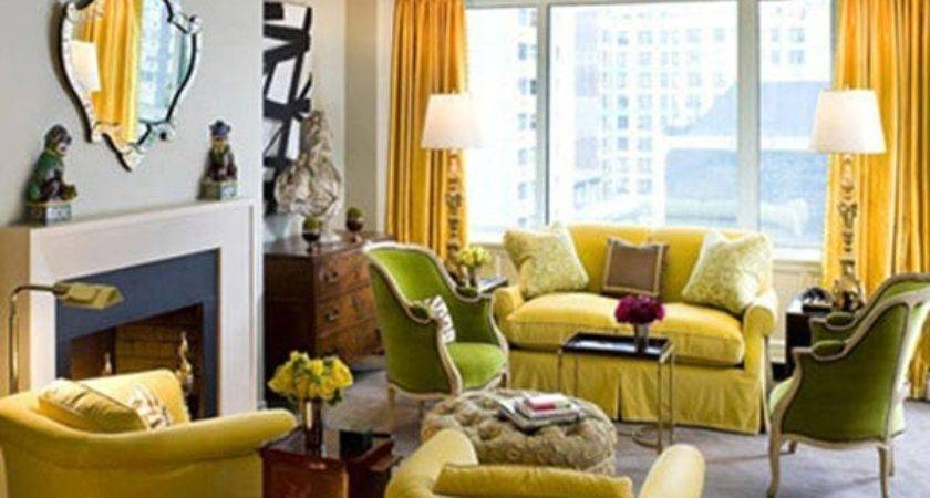 Yellow Gray Living Room Design Ideas