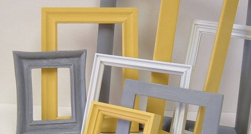 Yellow Grey Home Decor Frames Modern Wall