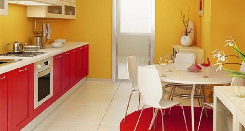 Yellow Red Kitchen Home Design